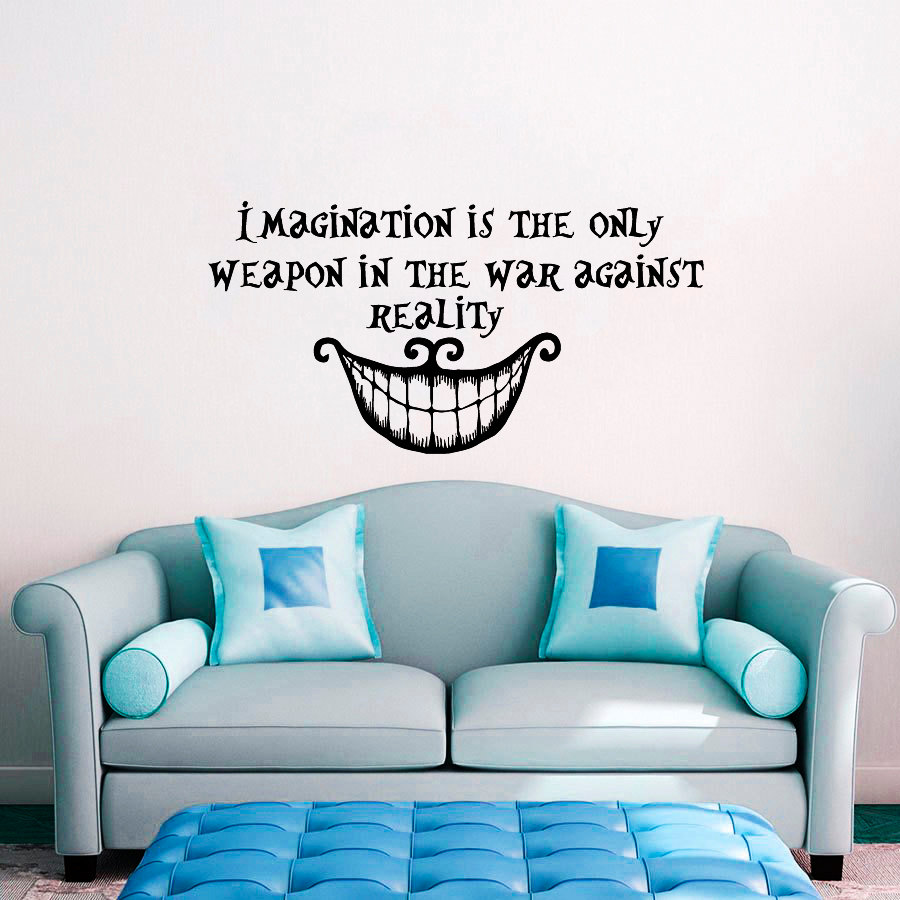 Alice in Wonderland Wall Decal Quote Imagination is the Only Weapon Vinyl Sticker House Home Bedroom Window Decoration WW 94 in Wall Stickers from Home Garden
