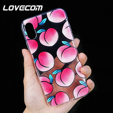 5128a5c6e04 LOVECOM frutas caja del teléfono para iPhone 5 5S SE 6 6 S 7 8 Plus X XS X  XR XS. clara suave TPU de muchos melocotón jugoso cas.