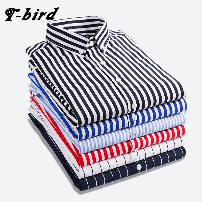 T-bird рубашка Для мужчин 2018 новая полосатая одежда с длинным рукавом мужская одежда Camisa Masculina сезон: весна–лето бренд Повседневное Мужские рубашки Топы 5XL