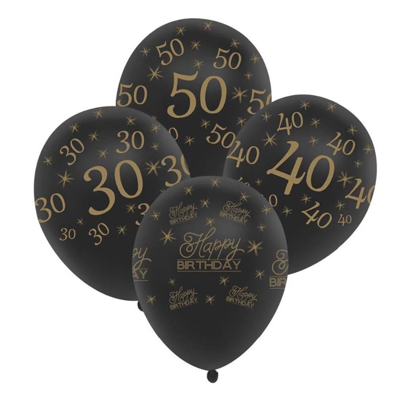 10pc 12inch Gold Black Happy Birthday Balloon 30 40 50 Anniversary Latex Balloons Wedding Decor Event