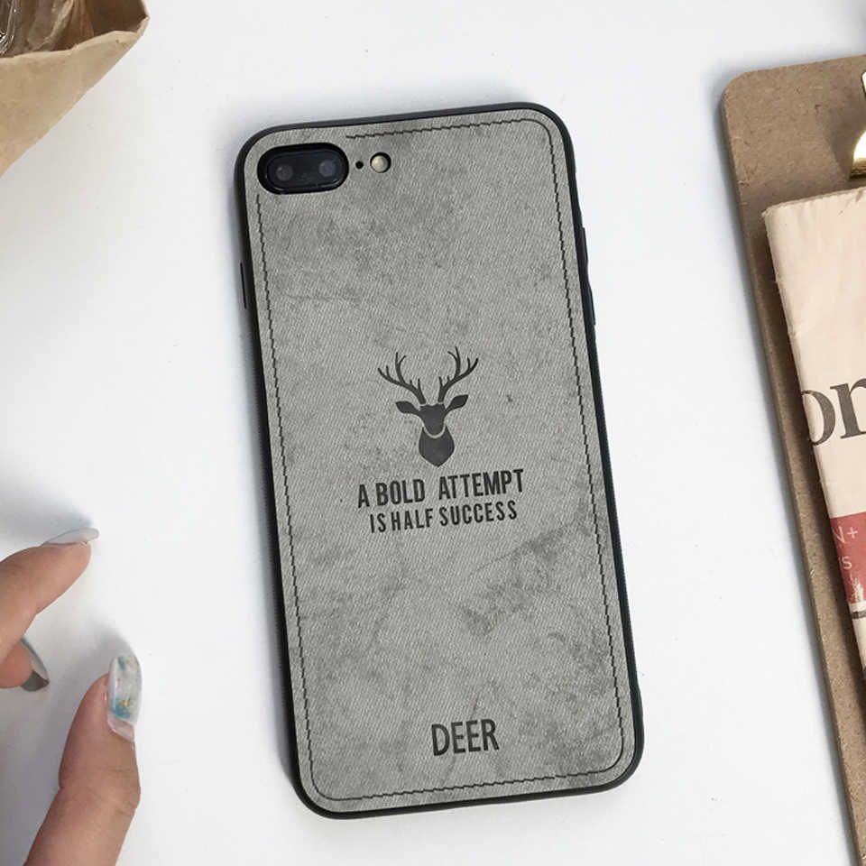 Case For iphone 7 Plus XS MAX XR X SE 5 5s 6 6s Cover Cloth Art Fabric Deer Vintage XiaoMi 8 SE A2 Lite A1 RedMi 6A 5A Note 4X