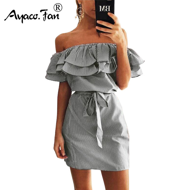 2018 Off Shoulder Strapless Striped Ruffles Dress Women Sexy Summer Sundresses Slim Beach Casual Shirt Short Mini Party Dresses