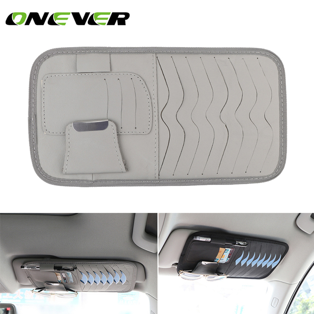 PU Leather Car CD Holder Auto Sun Visor DVD Disk Card Case Clipper Bag Car Styling Interior Organizer Cover For Glass Pen Cards