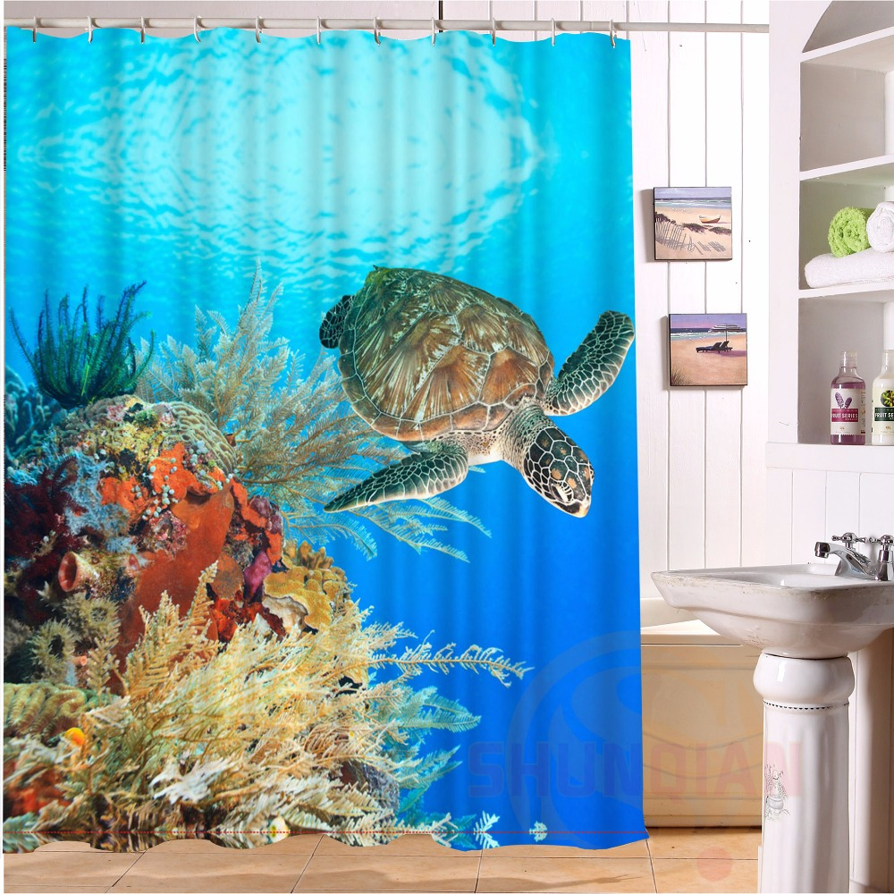 Custom Home Decor Sea Turtle Shower Curtain European Style Bathroom Waterproof H 46 China