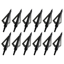 12pcs Black arrow broadhead use Crossbow Hunting recurve archery Carbon arrow universal 100GR 3 Fixed Blades LonBow Shooting
