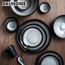 Японский стиль S чай k Керамическая тарелка набор посуды чайная чашка креативная миска для супа 7 9 10 дюймов посуда