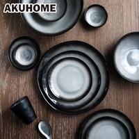 Japanischen Stil Steak Keramik Platte Set Geschirr Tee Tasse Kreative Suppe Schüssel 7 9 10 Zoll Geschirr-in Geschirr & Platten aus Heim und Garten bei