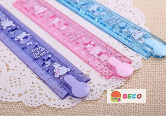 1PC/lot Cute Folding 30cm Ruler Plastic Ruler Lovely Stationery Wholesale Price (SS-244)