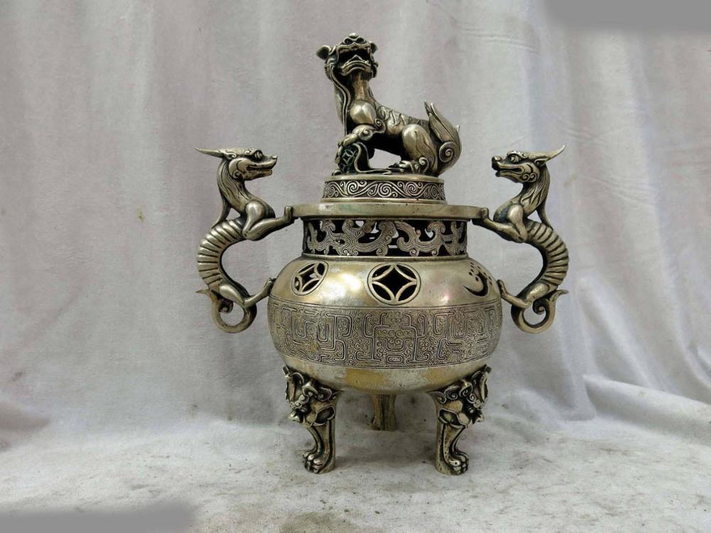 "11"" China silver finely censer Foo Dogs Lion dragons money incense burner Statue statue dragon statue lion statue dog - title="
