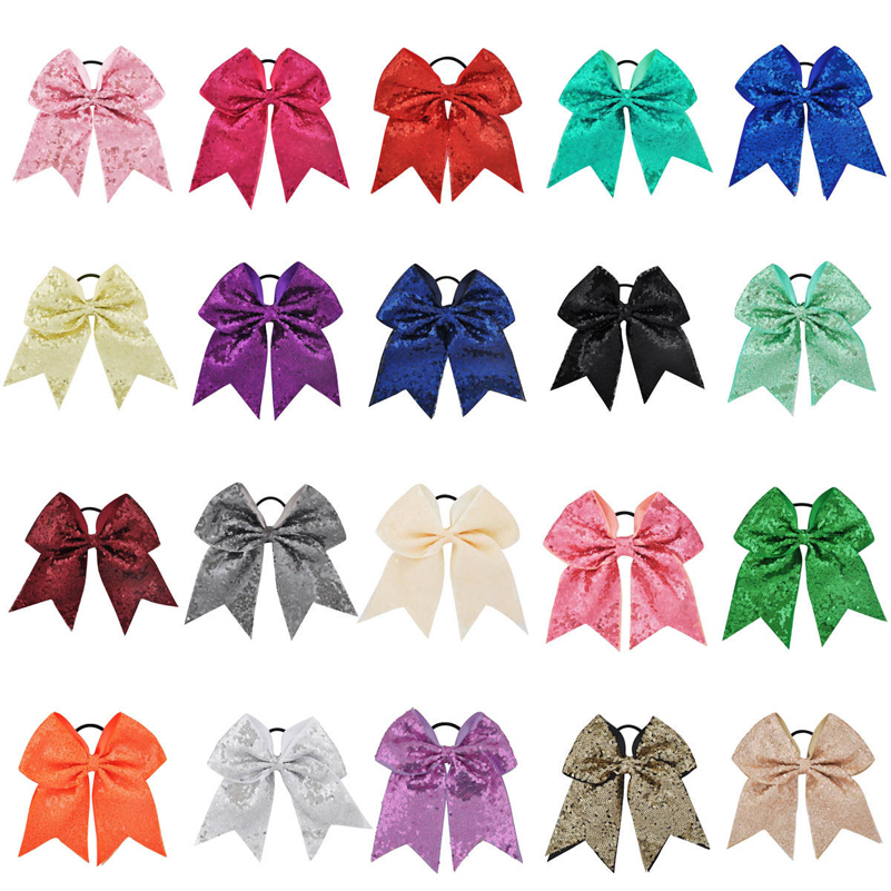 8 tum Stora Big Sequin Bows Elastiska Hair Bands Grosgrain Ribbon För Cheerleading Kid Girl Hair Accessories Boutique