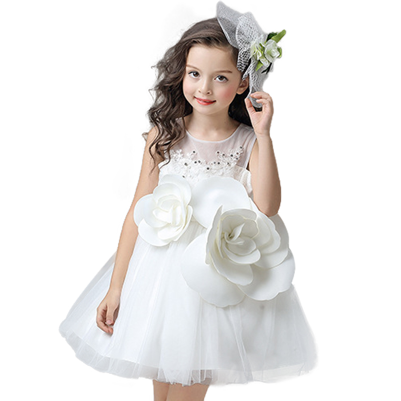 цена на Kids Wedding Summer Party Dresses For Girls Big flowers Lace Birthday Princess Costume Children Toddler Elegant Vestido white
