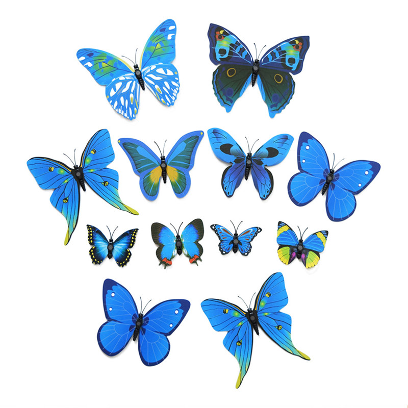 12pcs magnetic butterflies diy 3d wall stickers home decor art design decal room decoration blue. Black Bedroom Furniture Sets. Home Design Ideas