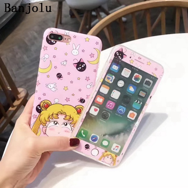 hot sale online a0bcf 9a0c2 US $7.99 |Banjolu Sailor Moon Case + Tempered Glass Screen Protector Phone  Case for iPhone X 8 7 6 6s Plus Star Magic Wand Bow Soft TPU-in Fitted ...