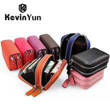 Kevin yun designer marke mode frauen kartenhalter doppel-reißverschluss aus echtem leder brieftasche kreditkarten tasche