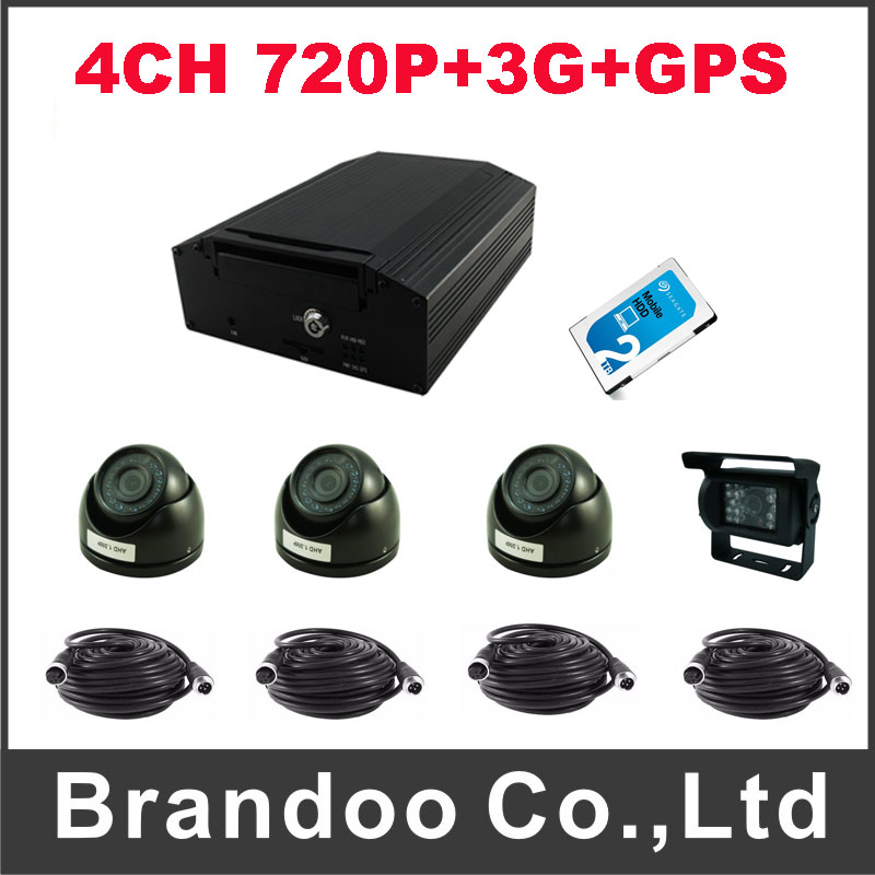 4CH 720P HDD MDVR with GPS and 3G function+4pcs AHD camera+1pcs 2TB HDD+4pcs AV video cable