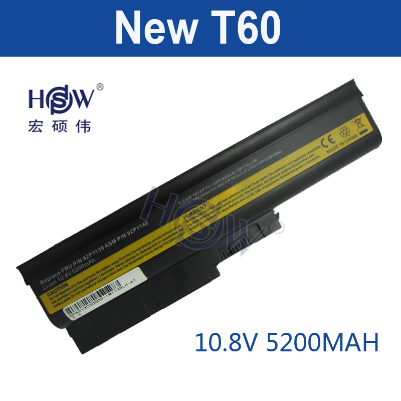 HSW 5200mAh 6 Cells Replacement Laptop Battery for IBM ThinkPad R60 R60e T60 T60p Lenovo ThinkPad R500 T500 W500 Laptop Bateria new 9 cell laptop battery for lenovo thinkpad r500 r61e t500 sl300 t61p sl400 sl500 41u3198 asm 42t4545 fru 42t4504 42t4513