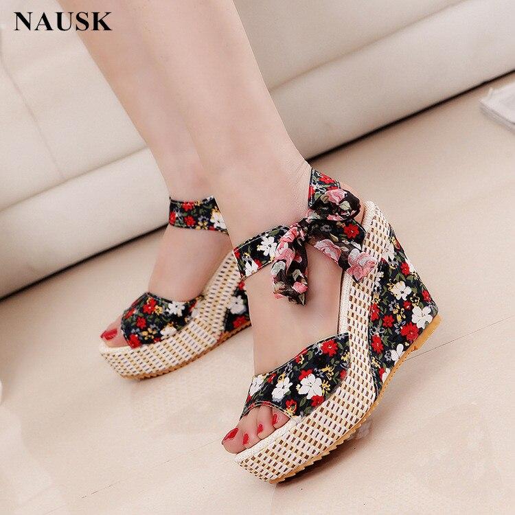 NAUSK Platform Sandals Shoes Women Wedge Flowers Floral Summer New Sweet Buckle Open-Toe
