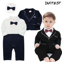 Baby Boys Clothes Winter Gentleman Romper Coat 2pcs Set Outfits Infantil Event Wedding Jumpsuit Party Birthday