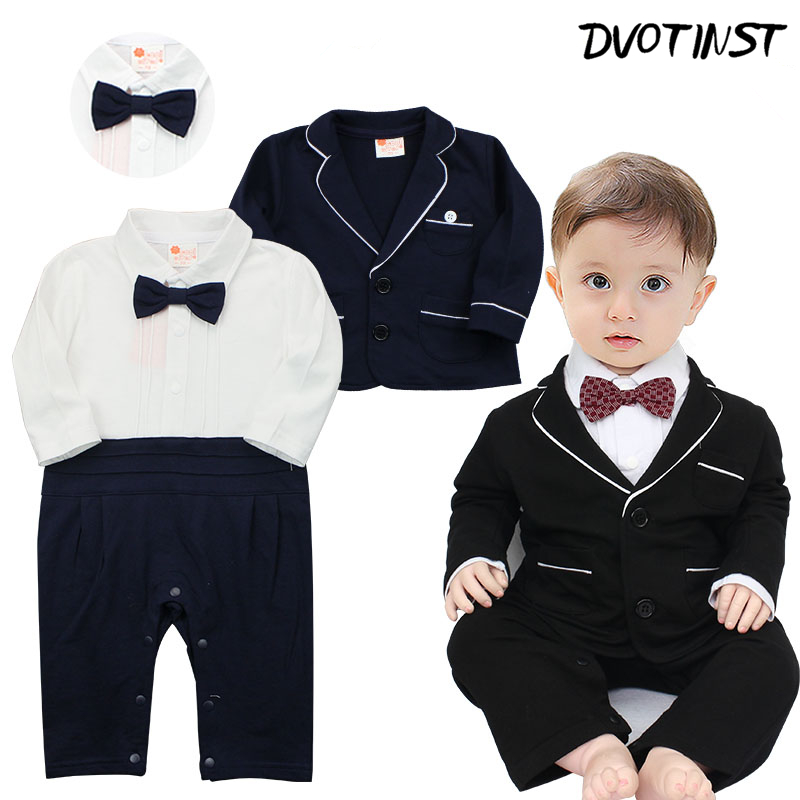 Baby Boys Clothes Winter Gentleman Romper+Coat 2pcs Set Outfits Infantil Event Wedding Jumpsuit Party Birthday Clothing Costume