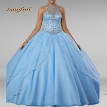 tangfuti Sky Blue Quinceanera Dresses Long Ball Gown