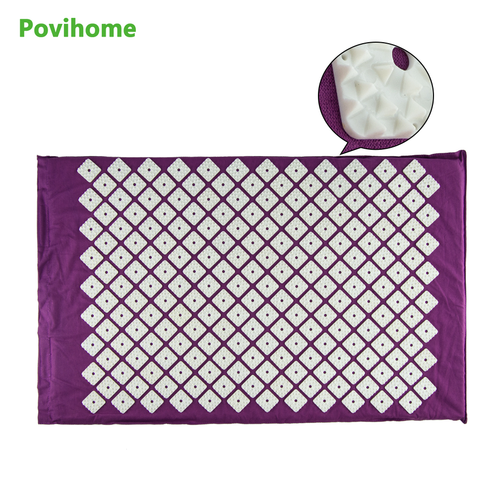 Povihome Sports Equipment Yoga Massage Mat Acupressure Therapy Cushion Massage Mat for Relieve Stress Pain Purple Pads C1190 povihome 1set massage cushion acupressure therapy mat relieve stress pain relief acupuncture spike yoga mat with pillow d06874