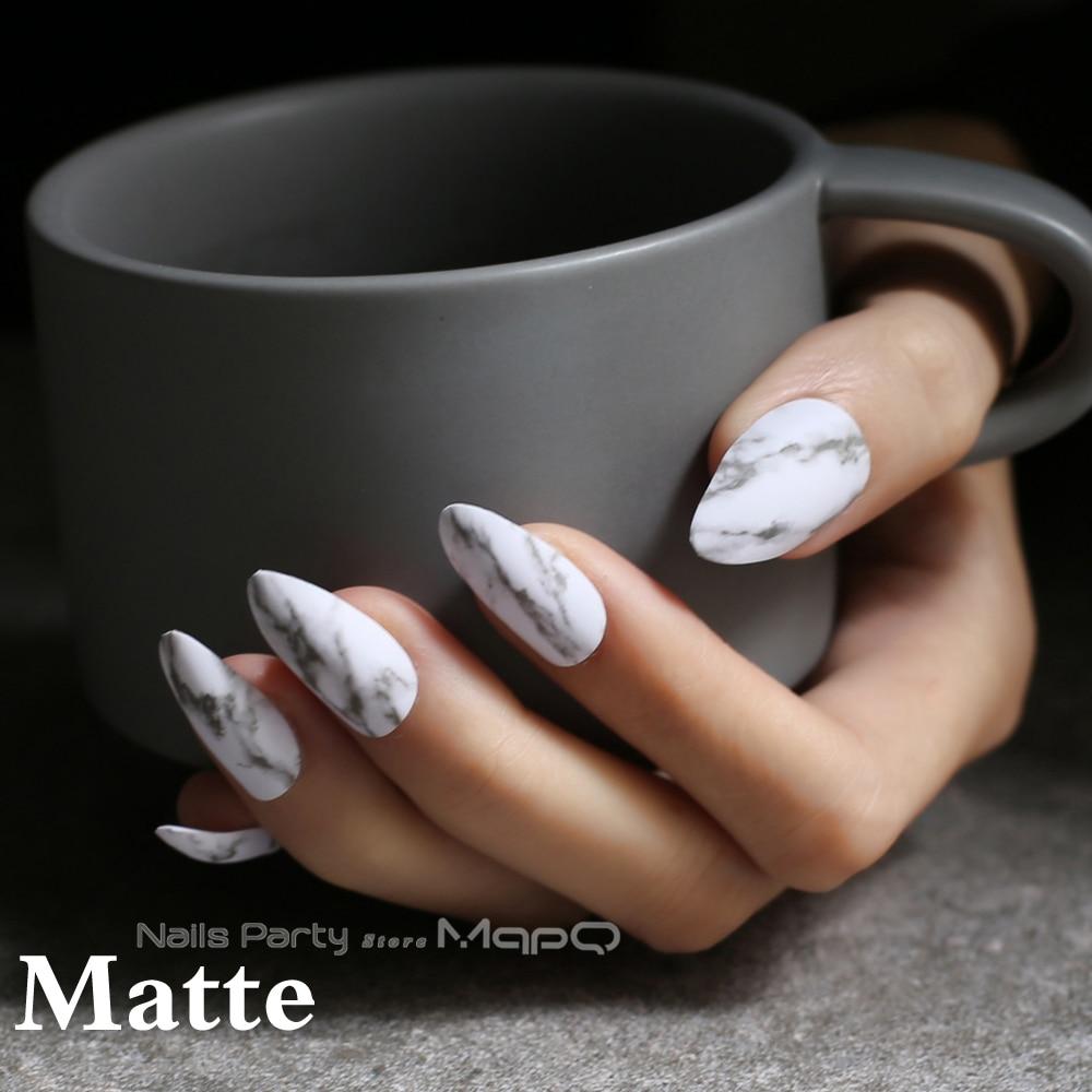 Marble Matte Natural Texture Stiletto Nails White Medium Fake Nails Glossy False Nails Point Tip High Quality 24pcs Full Sets