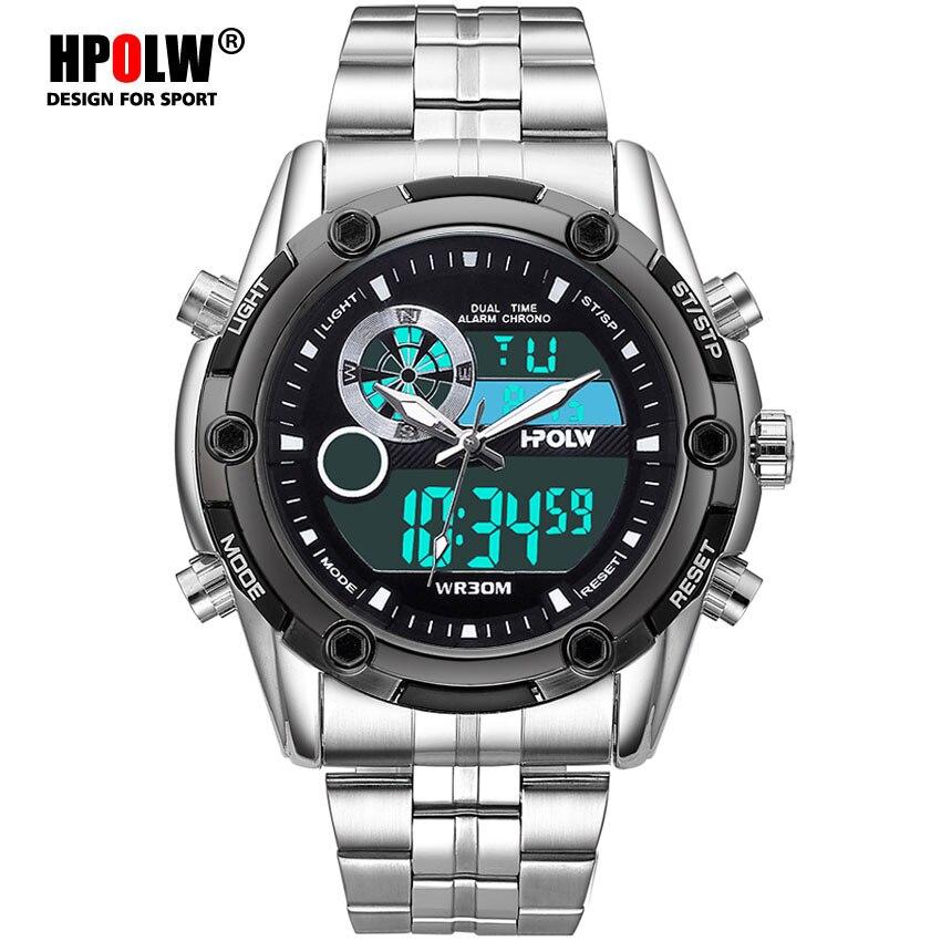 Neueste Kollektion Von Männer Sport Uhren Edelstahl Dual Display Uhr Digital Analog Militär Armee Uhr Elektronische Quarzuhr 30 M Wasserdichte Ein Unbestimmt Neues Erscheinungsbild GewäHrleisten Uhren