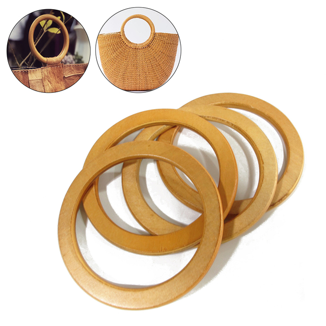 1PC Round Wooden/Bamboo Bag Handle Replacement DIY Handcrafted Handbag Handles Bags Parts Accessories Replacement DIY Handle