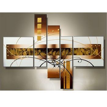Top Fashion Abstract 5 Plane Style Wall Art Canvas Painting 100% Hand Painted Oil Paintings Home Living Room Decoration