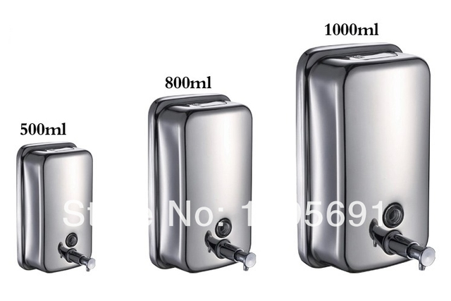 MAIDEER Capacity 1000ML 304 Stainless Steel Chrome Pump Action Wall Mount Soap  Dispenser