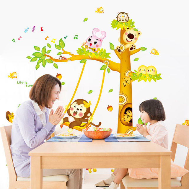 Online Shop [SHIJUEHEZI] Cartoon Tree Wall Stickers PVC DIY Monkey ...