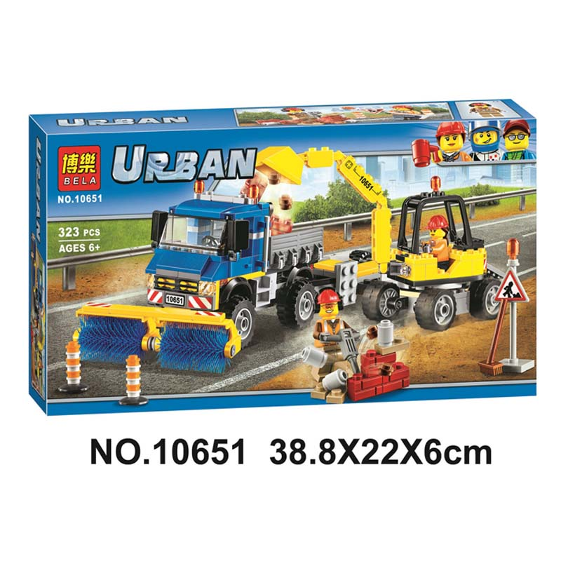 Lepin 60152 Pogo Bela 10651 Urban City Sweeper Excavator Building Blocks Bricks Compatible legoe Toys Gifts for Children Model compatible lepin city block police dog unit 60045 building bricks bela 10419 policeman toys for children 011