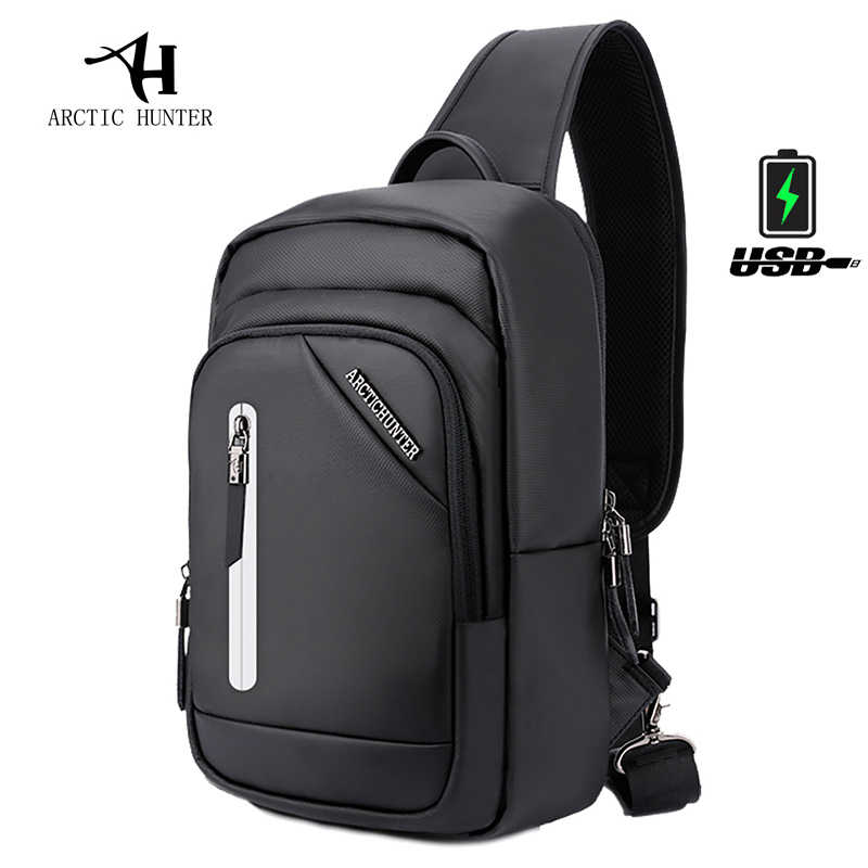 ARCTIC HUNTER New Autumn Waterproof USB Design Chest Bag School Men Sling bag Large Capacity Handbag Hot-Selling Crossbody Bags
