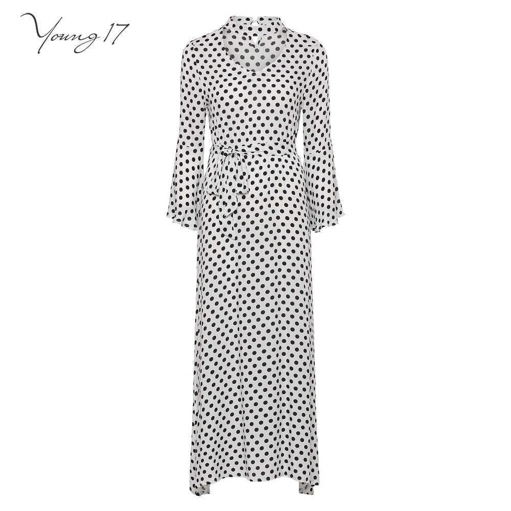 ... Feedback Questions about Evening Party Extra Long White Black Polka Dot  Dress Robe Halter V Neck Belt Women Spring Summer Trval Beach Date Maxi  Dresses ... 23016ed08