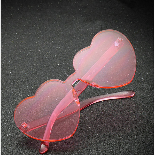 d899e75901 MINCL Womens Designer Cute Rimless Love Heart Shaped Sunglasses Ladies  fashion unique Jelly sunglasses Party glasses FML