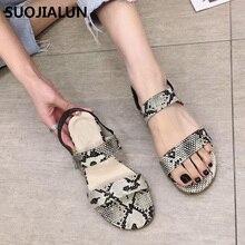 SUOJIALUN 2019 Summer Women Sandals  Leopard Print Flat Beach Slippers Flip Flops Shoes Size 35-40