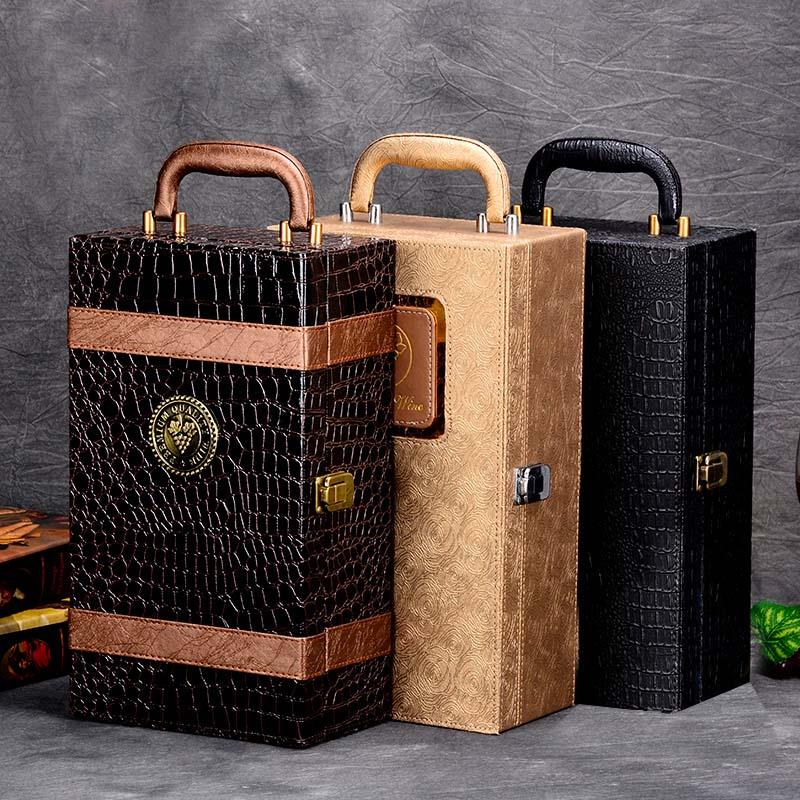 PU cuir haute qualité vin Double boîte 750 ml 2 bouteilles paquet en cuir vin cadeau boîte haut rigide-grade Commercial cadeau emballage