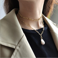 Luxury women's necklaces gold chain with pearl industrial style simple elegant party punk necklace fashion sexy top accessories