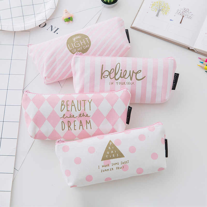 1pcs/sell concise Kawaii Pencil Case cute pink diagonal stripe pattern School Supplies Stationery Gift Pencil Box Pencil Bag