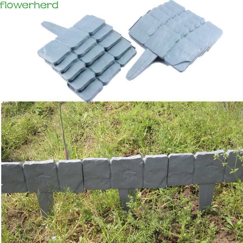 25x23.5cm Cobbled Stone Effect Plastic Garden Edging Hammer-In Lawn Lawn Palisade Fencing, Trellis & Gates ...