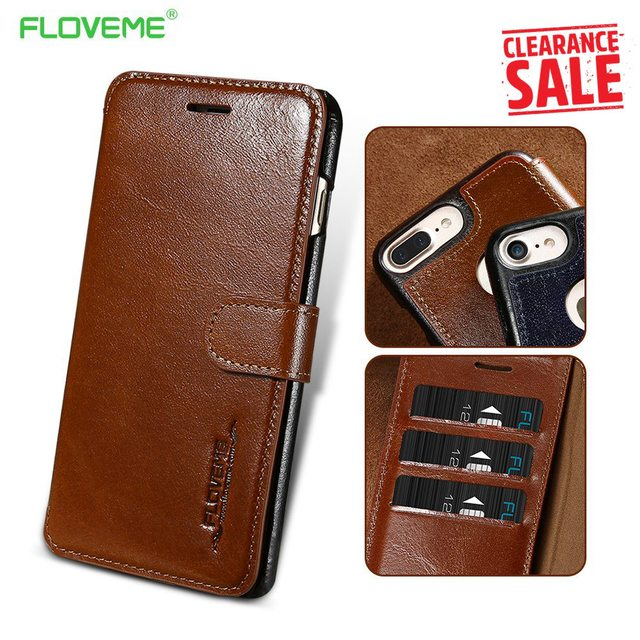 reputable site 0d024 3883b US $8.99 40% OFF|FLOVEME Genuine Leather Wallet Case For iPhone 8 7 6 6s  Luxury Flip Card Slot Cover Cases For iPhone 8 7 6s 6 Plus Accessories-in  ...