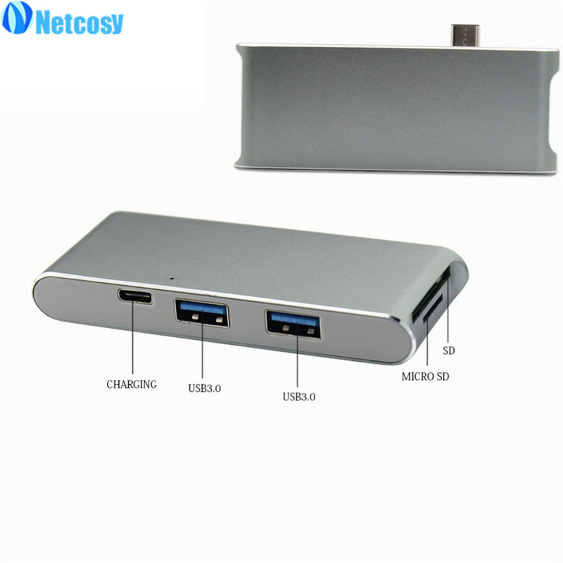 Netcosy SD / MicroSD Card Reader 2-Ports USB 3.0 Type-c to USB 3.0 HUB Adapter For MacBook ...