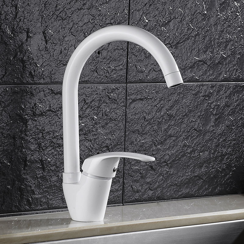 cold water faucet, 360 degree revolving bibcock, dish basin, swan, high throw, bent pipe head, black and white color