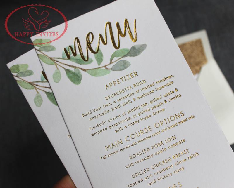 Us 625 0 Free Shipping For Some Countries Hi1150 Simple White Wedding Invitation Card Wedding Menu With Gold Letterpress In Cards Invitations