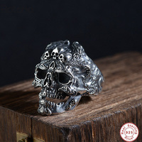 Real 925 Sterling Silver Skull Ring Men Adjustable Dragon Ring Punk Rock Many Skeletons Mens Gothic Halloween Jewelry Charm Ring