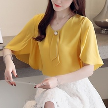 Fashion Women Blouses 2019 Summer Bat Sleeve Chiffon Shirts Blouse Short Shirt Blusas
