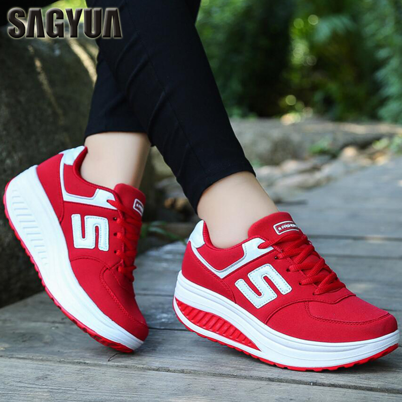 SAGYUA Trendy Womens Fashion Casual Shoes Feminino Mesh Air Cushion Damping Leisure Thick Soled Shoes Zapatos Shoes Sapatos T341