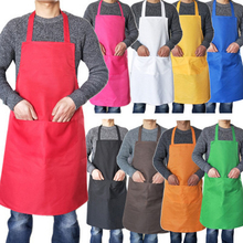 Pure color Cooking Apron For Woman Men Thicken Household Cleaning Sleeveless Cotton Polyester with Double Pocket