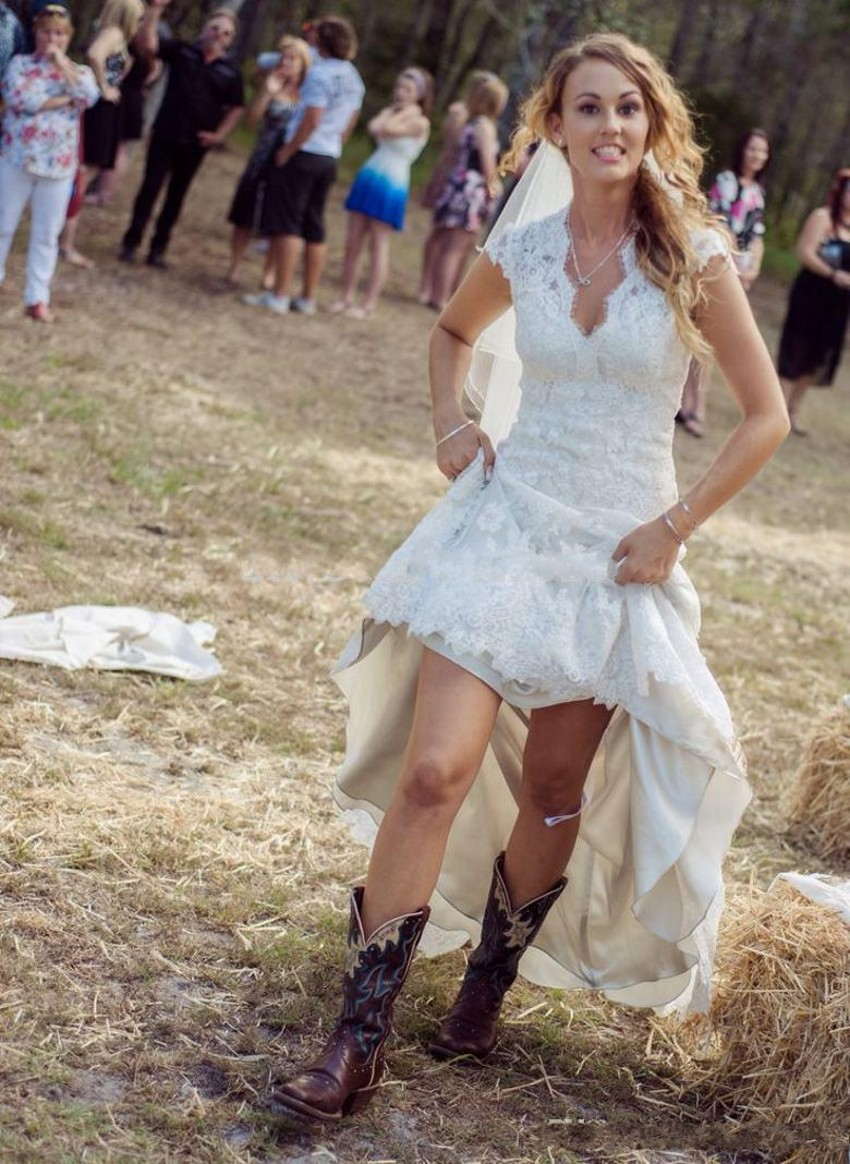 New Fashion 2016 Country Wedding Dresses Short Front Long Back ...