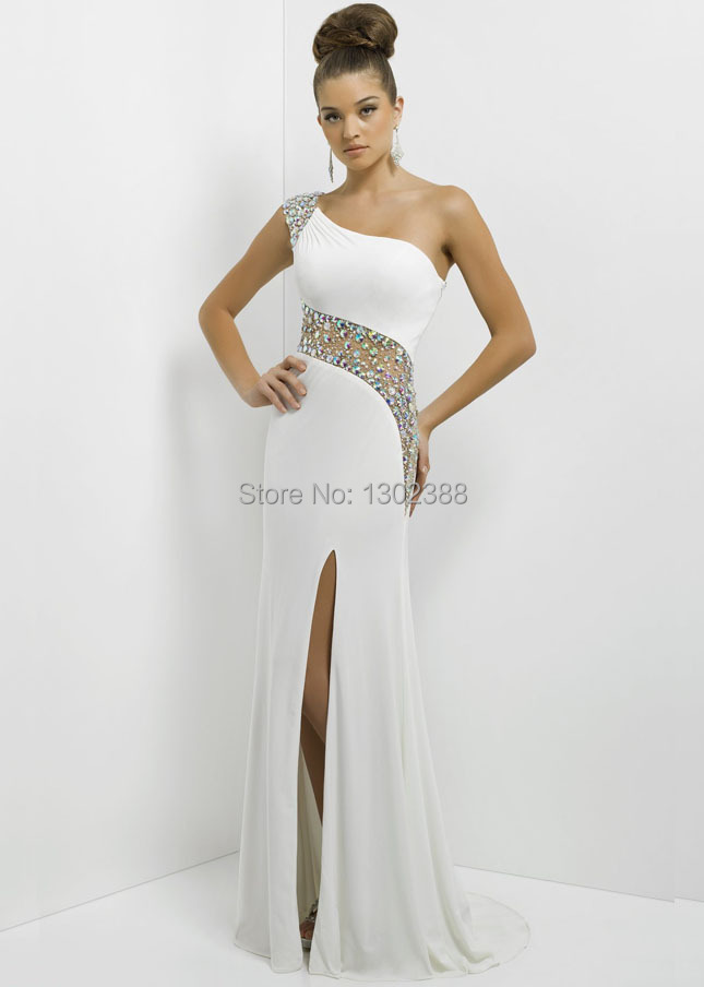 Aliexpress.com : Buy SS90 White One Shoulder Crystal Shiny Beads ...